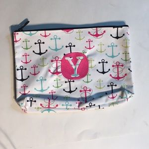 31 FIRST MAT ZIPPER POUCH Anchors with hot pink Y